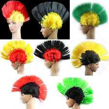 Punk Mohican Rocker Mohawk Wigs Double Color Fancy Party Dress Cosplay Halloween