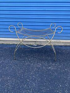 Vintage Art Deco Hollywood Regency Mid Century Gold Vanity Bench Chair Stool