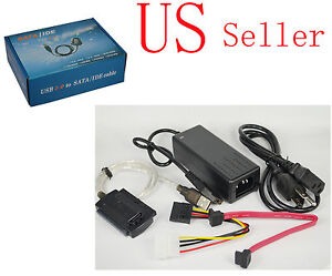 USB 2.0 to IDE SATA 2.5 3.5 Hard Drive HDD Converter + Power Cable Adapter USA