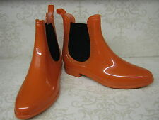 Ladies X1211 Orange Or Pewter Chelsea Boot Style PVC Ankle Wellies