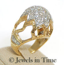 2.60 Carat Pave Diamond Retro Openwork Ring in 18k Yellow Gold 8