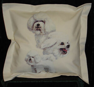 Hand Crafted Bichon Frise dog cushion cover