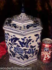 1 ONLY! Porcelain COBALT & BLUE White GINGER COOKIE JAR 6 SIDED BEAUTIFUL!