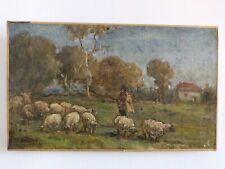 J. Breton Huile sur toile Scène pastorale berger moutons 32x19 cm signée