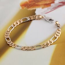 """18k Gold Plate Baby Chained Bracelets for Children 7.5"""" for Girls and Boys,Women"""