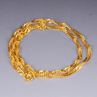 "Hot Sale Pure 24K Yellow Gold Necklace Woman's Elegant Singapore Chain / 17.3""L"