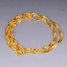 """999 New Pure 24K Yellow Gold Necklace Woman's Fashion Singapore Chain / 17.7""""L"""