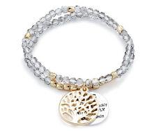 Double Strand Beaded Grey & Silver Engraved Charm Bracelet - Forgive Love Kiss