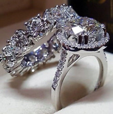 3.86ct Diamond Solitaire W/ Accents Engagement Bridal Ring Set 14K White Gold Fn