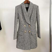 Neu Damen Luxus Designer Inspiriert Fischgrätenmuster Tweed Langer Mantel