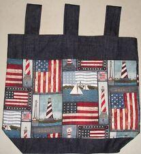 New listing New Handmade Denim Walker Tote Bag Flag Usa Lighthouse Americana Theme