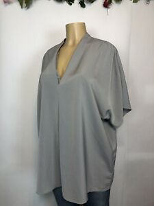 August 1 Eight Grey V Neck Kimono Shirt Womens Size XXL Career-Casual Breathable