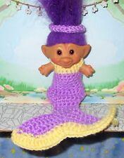 "Custom Troll Clothes / 3"" Mermaid Dress for doll crochet Treasure purple yellow"