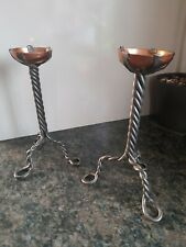 More details for vintage 'arts & crafts' style spike candlestick, wrought iron and copper