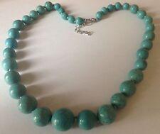 collier bijou rétro perles style turquoise en décroissant 3931