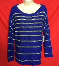 NWT a.n.a  women's blue yellow striped 93% Acrylic Crewneck sweater  size--XL