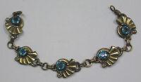 Vintage Jewelry Gold Filled Bracelet Blue Rhinestones Metal Fan Shapes