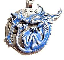 SILVER BLUE GARGOYLE PENDANT incubus demon monster devil dragon gear necklace M3