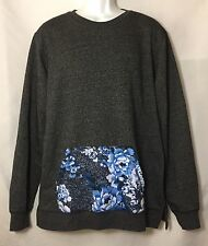 Men's X Large On The Byas Dark Gray with Blue Floral Print Pocket EUC