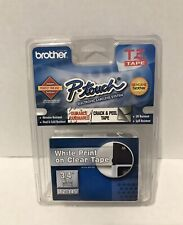 Brother 3/4in Labeling Tape (26.2ft, White on Clear) TZ145 NEW