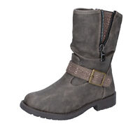 scarpe bambina MANAIRONS 25 EU stivaletti grigio pelle BT347-25