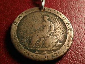Neat 1797 UK English Brittania Bronze Lucky Penny Lock back Stainless Keychain