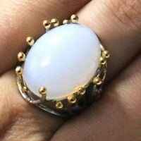 7 Ct Oval White Opal Solitaire Ring Women Jewelry Gift 14K White Gold Plated