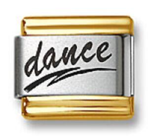 Italian Charms Bracelet Links Laser Word Dance Gold Trim 9mm Stainless Steel