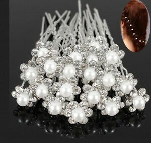 10pcs crystal pearl bridal hair pins clips accessories hairpins wedding 11mm