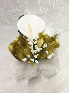 Corsages Pin-on Mother Wedding Prom Silk Flowers Rose Calla Lily Artificial Fake