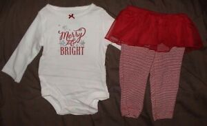 MERRY & BRIGHT-RED & WHITE OUTFIT-BODYSUIT/LACE SKIRT LEGGINGS-SIZE 9 MONTH-NWT