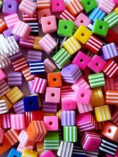STRIPED CUBE SQUARE ACRYLIC RESIN BEADS 8mm MIXED COLOUR