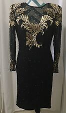 Pre-owned Vintage Laurence Kazar Black And Gold Sequined Dress Long Sleeve Sz S