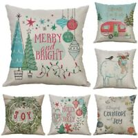 "Pillow case Printing Cotton Line Home Decor 18"" Christmas Cushion Cover Deer"