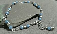 Handmade Natural Blue Aquamarine Faceted  Gemstone Silver Dainty  Chain Bracelet
