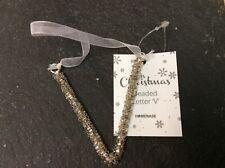 """Glitter/Beaded Letter Christmas Decorations """"V"""""""