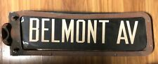 VINTAGE  BELMONT AVENUE BRONX NY PORCELAIN ENAMELSTREET SIGN WITH COVER