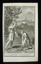 Antique Biblical Etching prophétie d'Achias à Jeroboam 1728 B Picart & Pigne