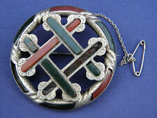 STUNNING ANTIQUE VICTORIAN SCOTTISH AGATE SILVER BROOCH ~ Requires Attention