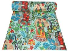 Frida kahlo Kantha Quilt Cotton Throw Queen Size Blanket Bedspread Handamde Art