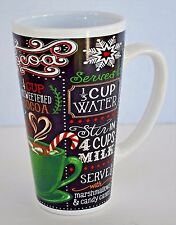 Hot Cocoa Tall Latte Style Chalkboard Look Mug Black and White 16 Ounce