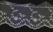Vintage 3 inch wide White cotton embroidered lace trim 9yds (0657)
