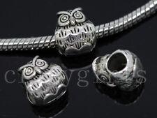 8/30/150pcs Tibetan Silver Bulk Big Hole Owl  European Jewelry Charm Beads Craft