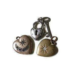 Heart Lock Sterling Silver Pad Lock England Starter Charm Bracelet Puffy Heart Clasp 7.25