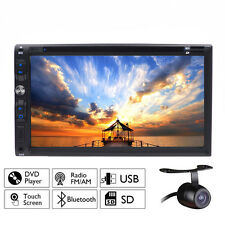 "Double 2 Din 7"" Car Stereo DVD CD MP3 Player HD In Dash Bluetooth Radio Camera"