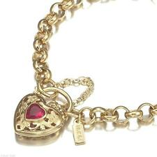 18K Yellow Gold GL Women's Solid Med Belcher Bracelet & Ruby Red Heart 18cm
