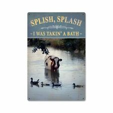 Splish Splash I Was Taking A Bath Cow Heavy Duty Usa Made Metal Bathroom Sign