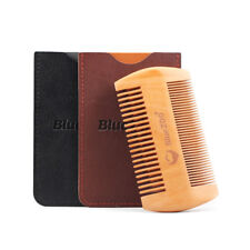 Wood Natural Sandalwood Double Sided Beard Styling Shaping Comb Tool With PU Bag