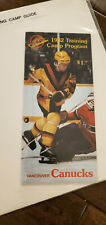 1982-83 VANCOUVER CANUCKS TRAINING CAMP MEDIA GUIDE BRODEUR WILLIAMS SMYL HLINKA