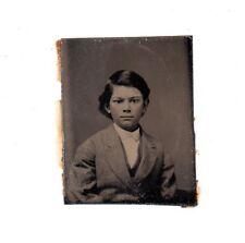 antique Tintype Photo Young Boy Handsome Child 1800s Portrait Civil War era
